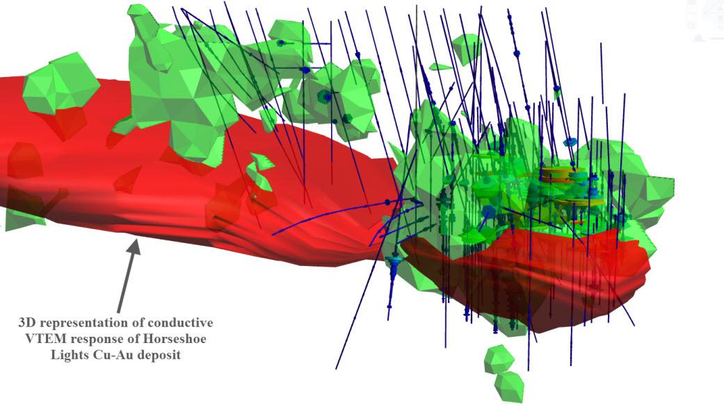 3D view of Horseshoe Lights Cu-Au deposit 1